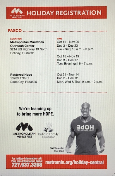 Metropolitan Ministries Holiday Registration