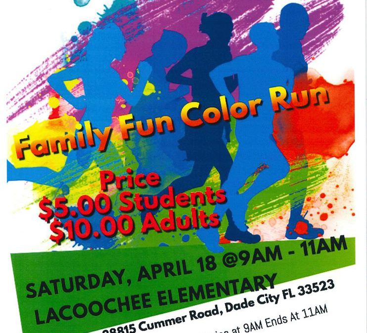 Please Come Join us for our 2019 – 2020 Color Run Event