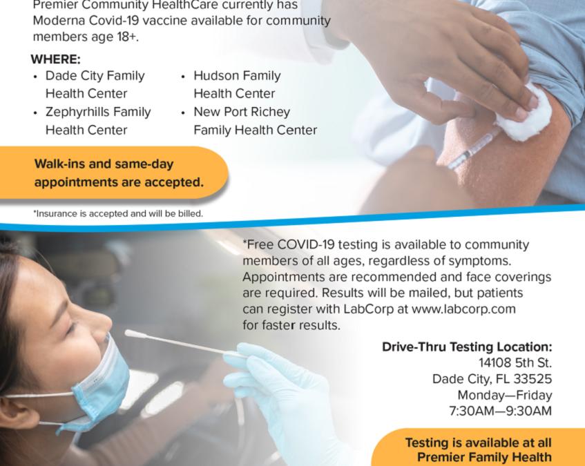 Premier Community Health Care Covid-19 Vaccinations